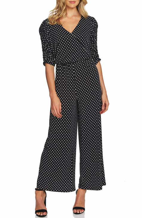d196dbfa47 CeCe Ruched Sleeve Polka Dot Jumpsuit