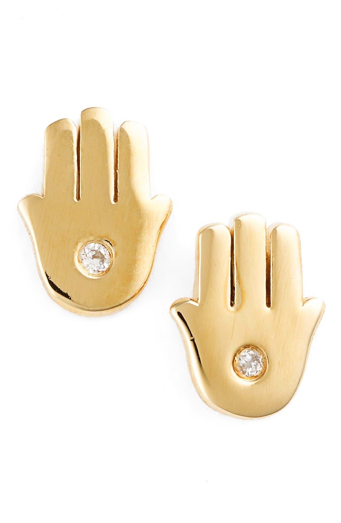 'Hamsa' Stud Earrings,                             Main thumbnail 1, color,                             Gold