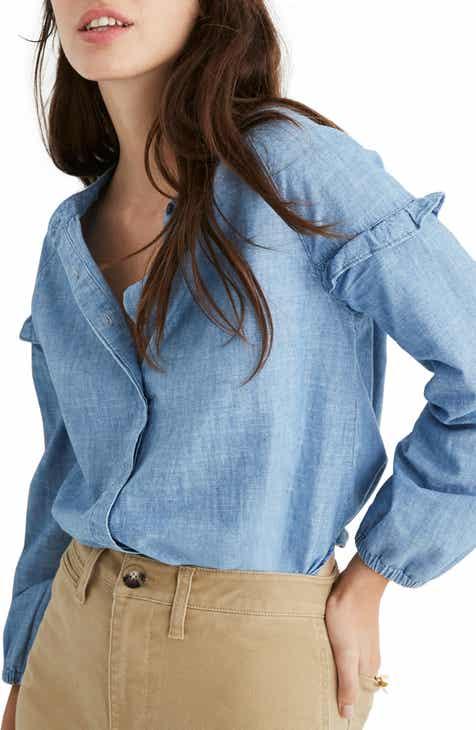8ff8a53a3bb Madewell Collarless Ruffle Sleeve Denim Shirt (Regular   Plus Size)