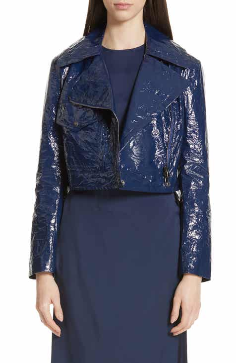 Sies Marjan Annabelle Crinkled Faux Patent Leather Crop Moto Jacket by SIES MARJAN