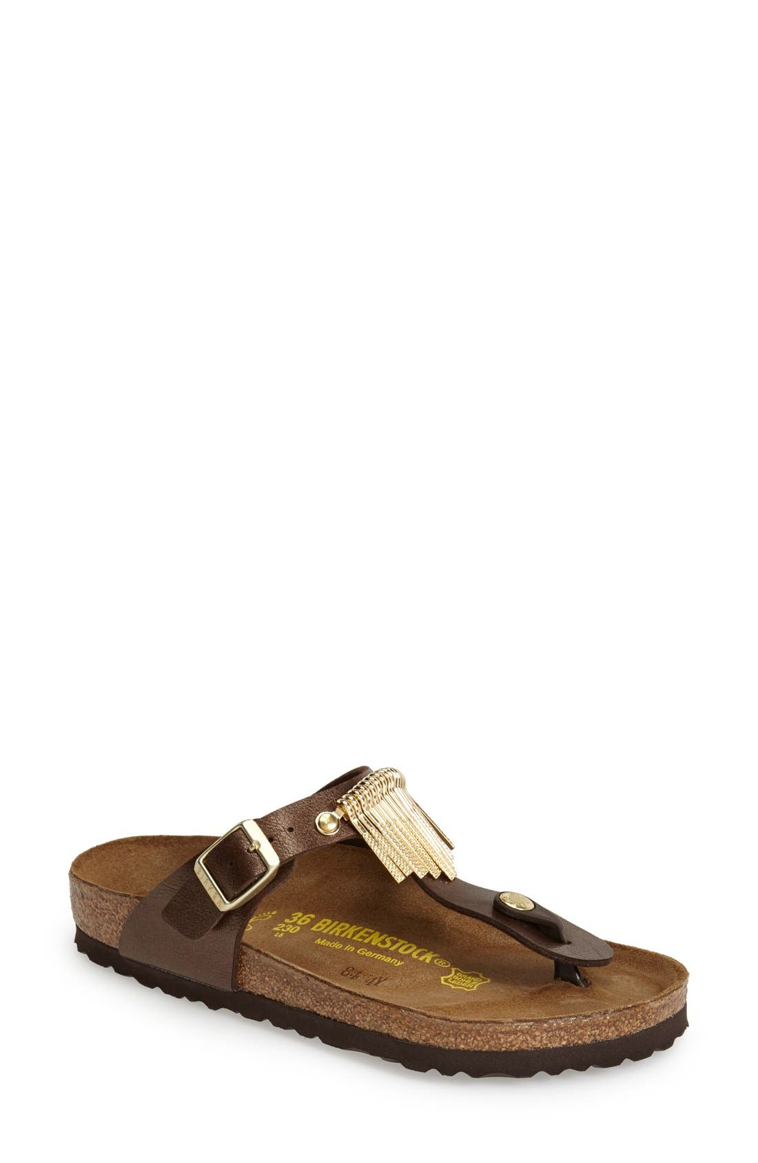 'Gizeh' Fringe Thong Sandal,                         Main,                         color, Toffee