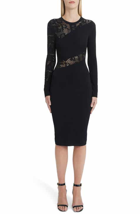 8e4b48a5ea2d Versace Logo Mesh Panel Body-Con Dress