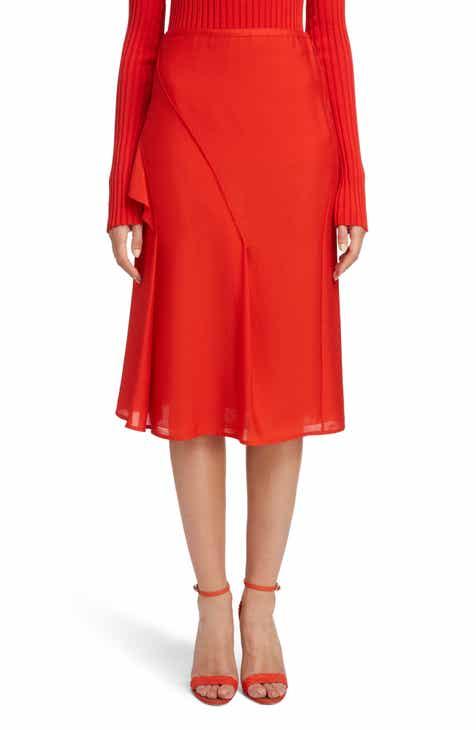 Victoria Beckham Ruffle Silk Midi Skirt by VICTORIA BECKHAM