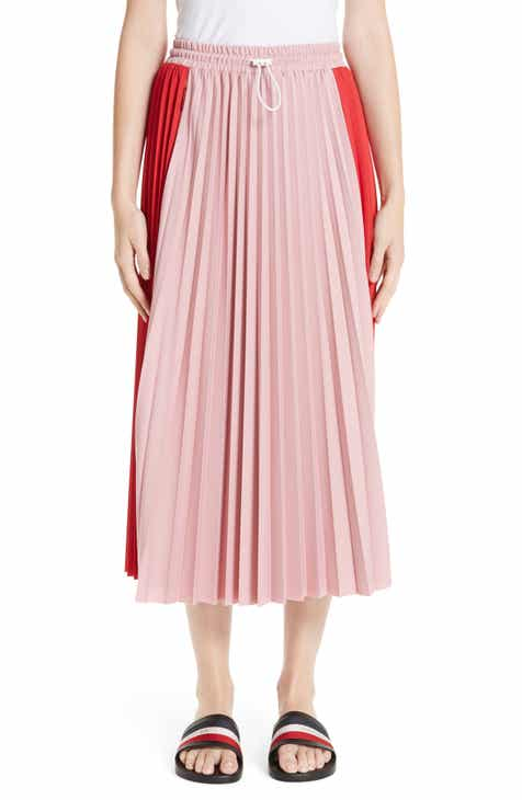 Halogen® Tie Waist Stripe Midi Skirt (Plus Size) by HALOGEN