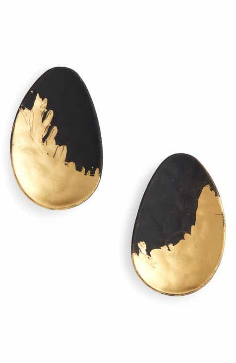 Canvas Jewelry Brush Oval Stud Earrings 1f127266badd