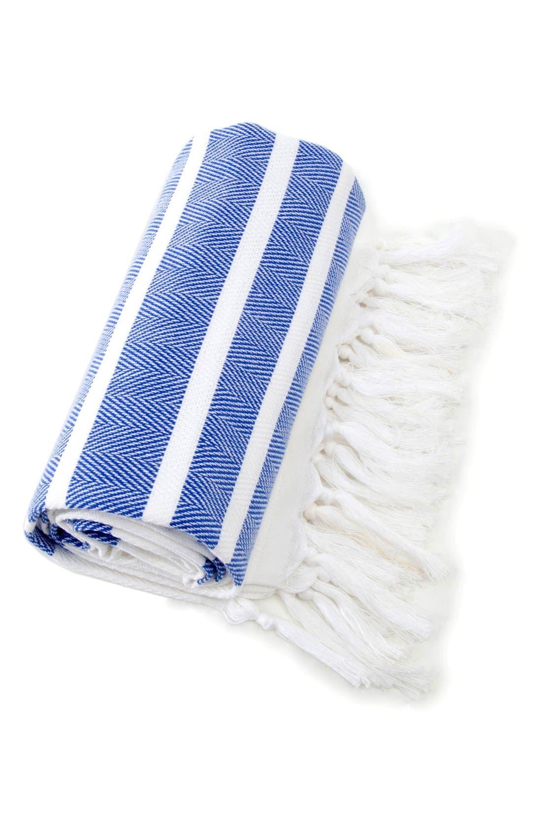 Herringbone Striped Turkish Pestemal Towel,                             Alternate thumbnail 3, color,                             Royal Blue/ White