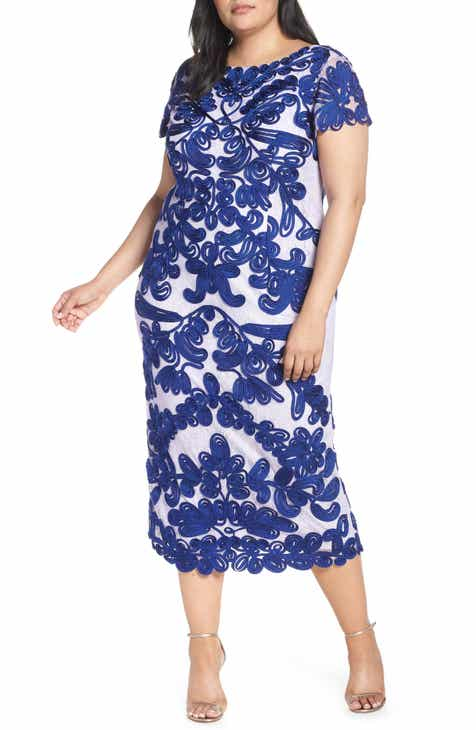 6491b9d8047 JS Collections Two Tone Soutache Embroidered Midi Dress (Plus Size)