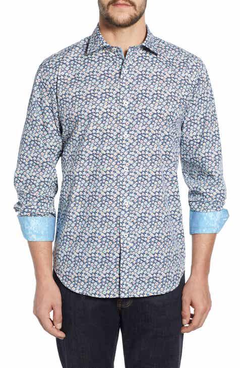 5bef38533ff Bugatchi Classic Fit Floral Print Sport Shirt