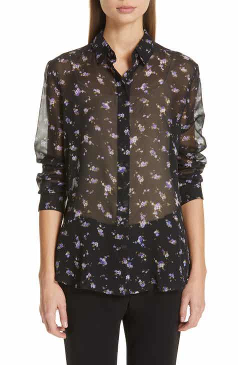 Altuzarra Floral Print Sheer Silk Blouse