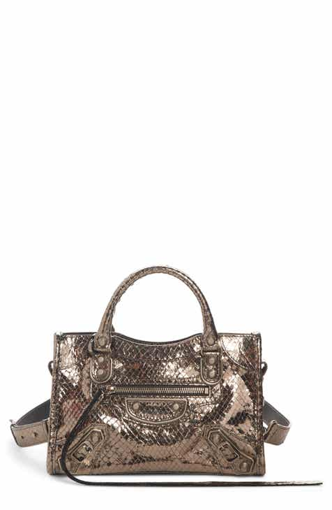 81fd23dc7be63 Balenciaga Metallic Mini City Croc Embossed Leather Bag