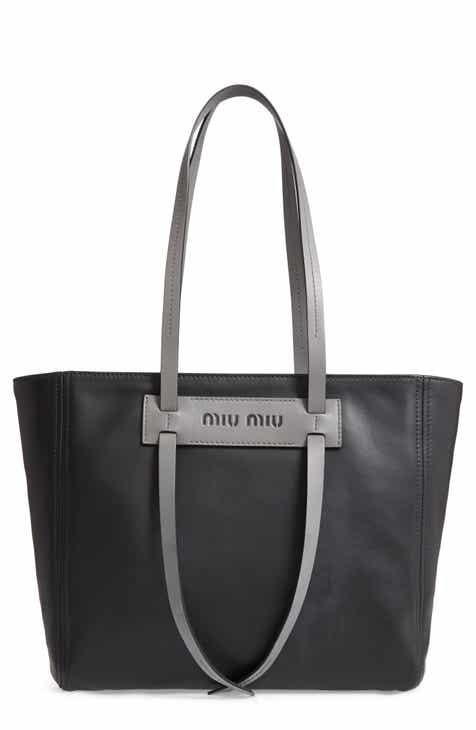 47fdb344ed4b Miu Miu Grace Lux Calfskin Leather Tote