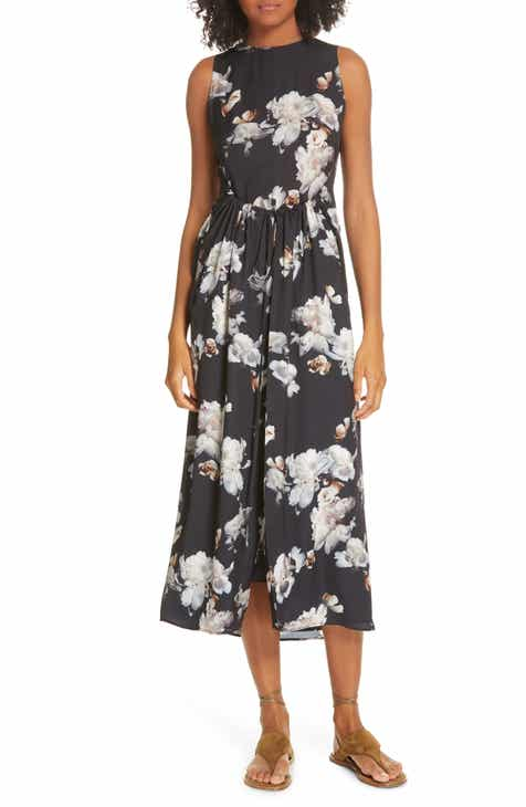 3261e150772 Vince Peony Print Shirred Drawstring Midi Dress