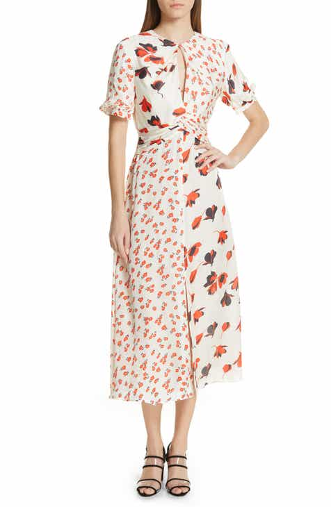 cf3662faff99a Self-Portrait Mixed Floral Print Midi Dress