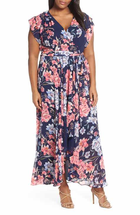 fc963a5b855 Eliza J Floral High Low Faux Wrap Dress (Plus Size)