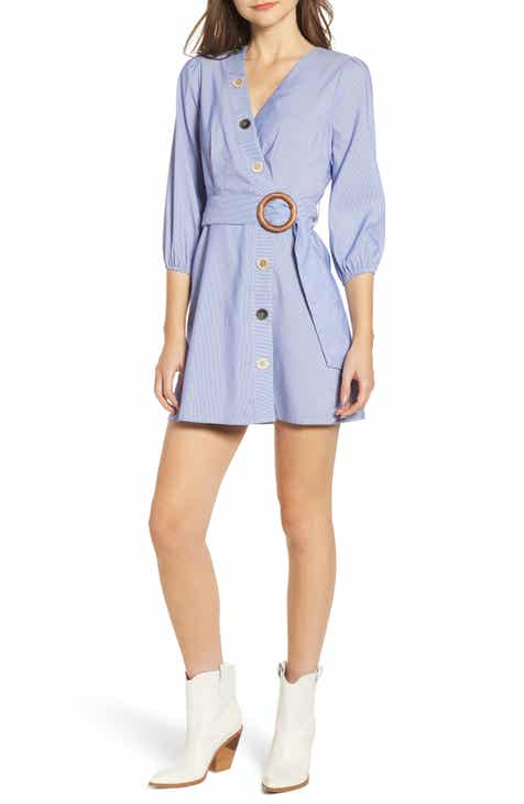 6367ac7d89 MOON RIVER Button Front Faux Wrap Dress