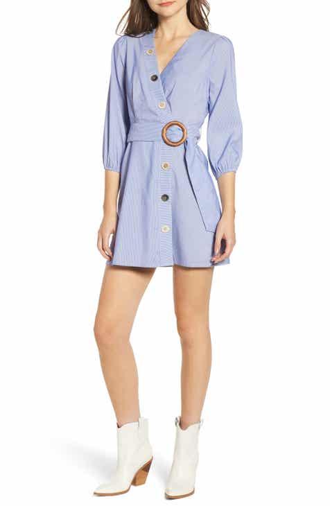 f2f87e9b082 MOON RIVER Button Front Faux Wrap Dress