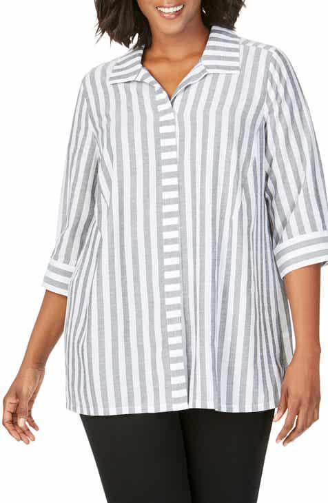 ee03074f9a27b Foxcroft Skye Stripe Tunic Shirt (Plus Size)