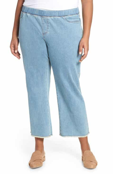 a5bc4d807bea6 Eileen Fisher Frayed Hem Pull-On Ankle Jeans (Plus Size)