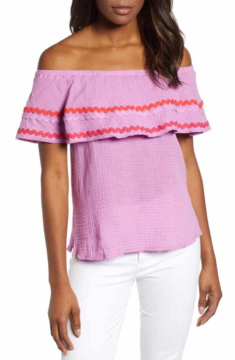 ce1627fbed1594 Santa Fe Rickrack Off the Shoulder Top (Regular   Petite) (Nordstrom  Exclusive)