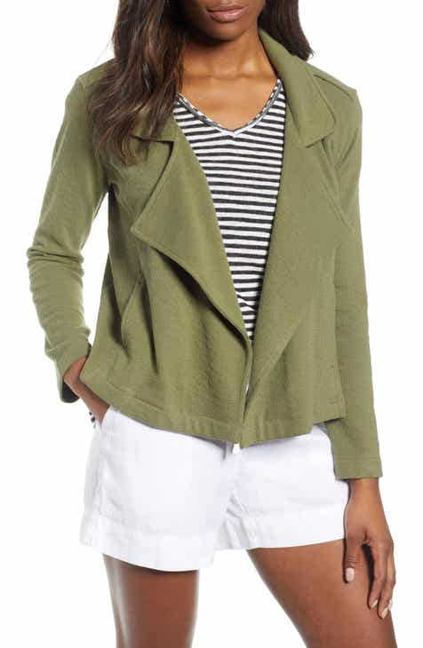 1775739dac9abc Caslon® Drape Front Stripe Jacket (Regular   Petite)