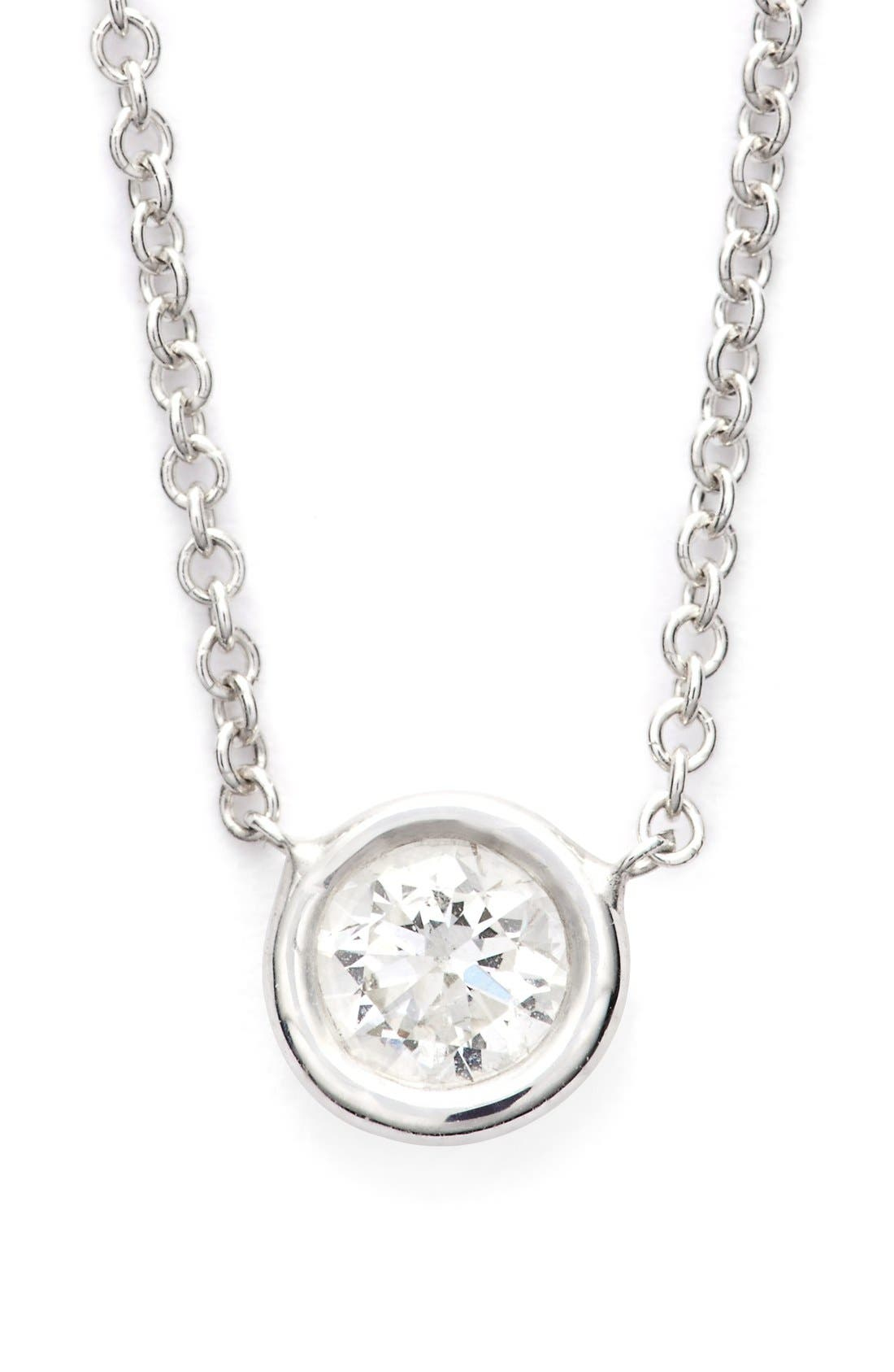 Medium Diamond Solitaire Pendant Necklace,                         Main,                         color, White Gold