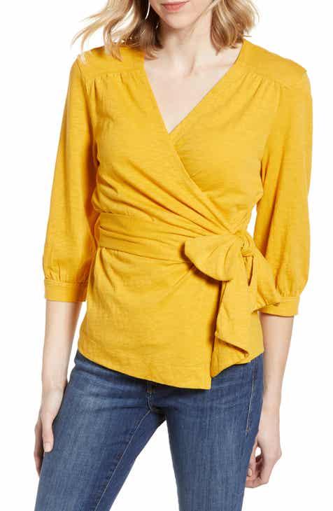 815ddc17b8f996 Caslon® Jersey Wrap Top (Regular   Petite)