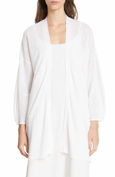 Eileen Fisher Blouson Sleeve Organic Linen & Cotton Cardigan (Regular & Petite) by EILEEN FISHER