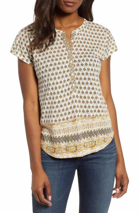 5cfc3ccefeb55c Lucky Brand Print Cap Sleeve Top