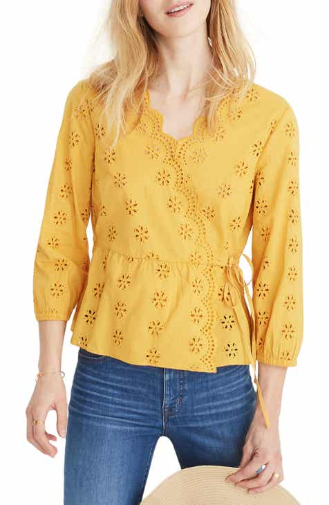 7bf9766f0307f0 Madewell Scalloped Eyelet Wrap Top (Regular   Plus Size)