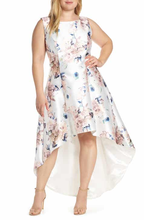 Chi Chi London Winter Floral High/Low Satin Cocktail Dress (Plus Size)