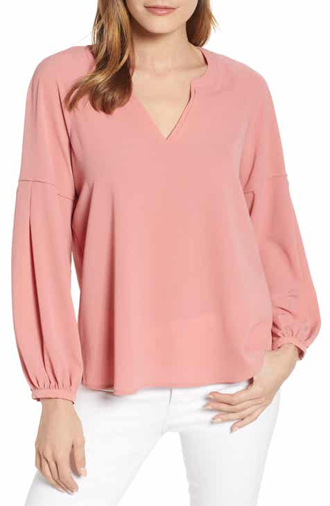 7d36ff1e40fe8f Vince Camuto Bubble Sleeve Crepe Blouse (Regular   Petite)
