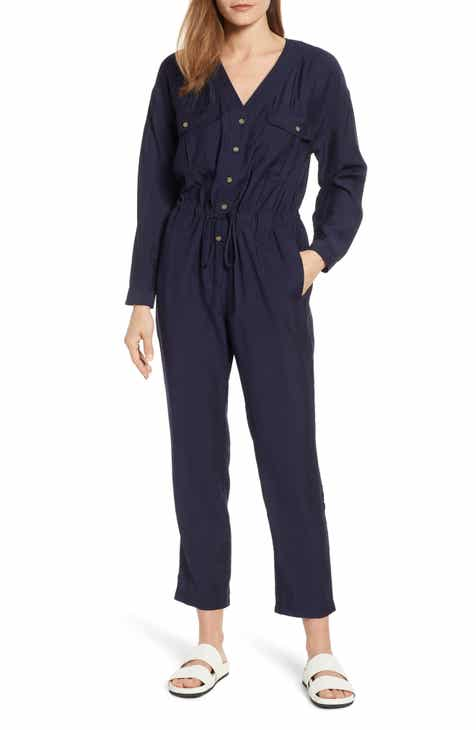 MOON RIVER Tie Back Cotton Blend Jumpsuit by MOON RIVER