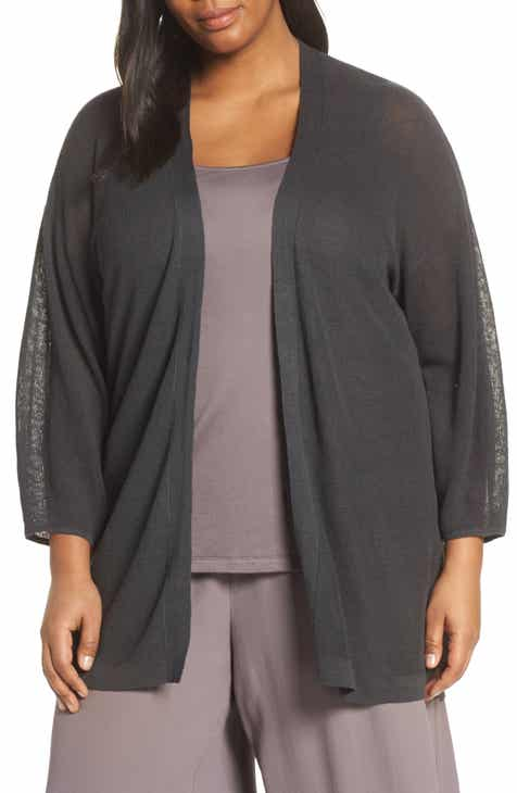 219f30d0fec Eileen Fisher Organic Linen   Cotton Cardigan (Plus Size)