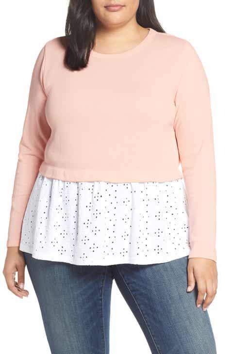 83663734b0da6 Caslon® Eyelet Peplum Sweatshirt (Plus Size)