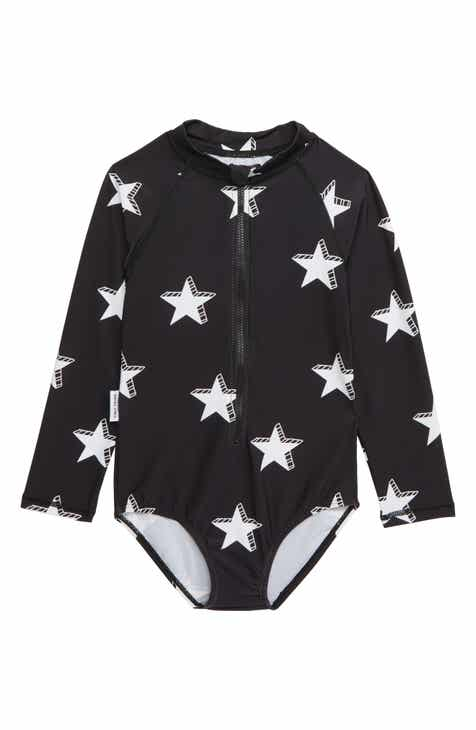TINY TRIBE Star One-Piece Rashguard Swimsuit (Toddler Girls & Little Girls)