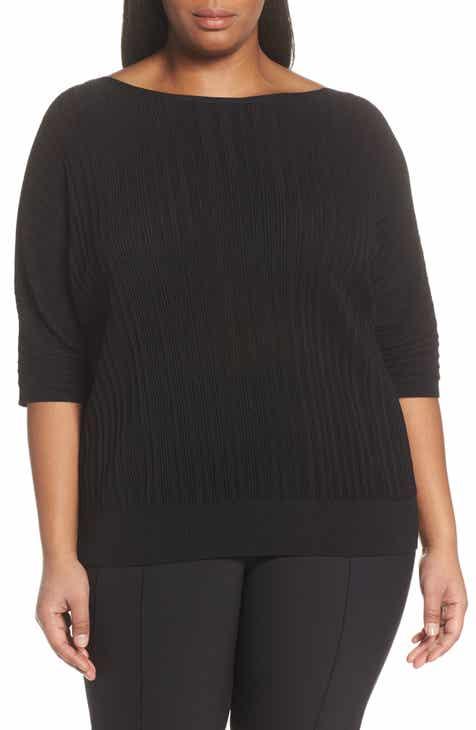 Lafayette 148 New York Plissé Ribbed Dolman Sweater (Plus Size) by LAFAYETTE 148