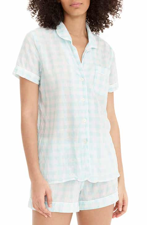 57702a8486e5 J.Crew Gingham Short Sleeve Pajama Top (Regular   Plus Size)