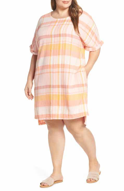 Caslon® Plaid Linen Blend Shift Dress (Plus Size)