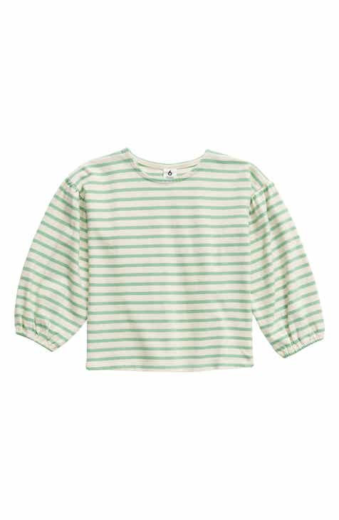 Stem Stripe Puff Sleeve Top (Toddler Girls