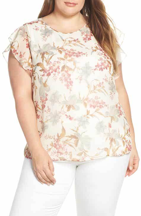 Vince Camuto Flutter Sleeve Wildflower Top (Plus Size)