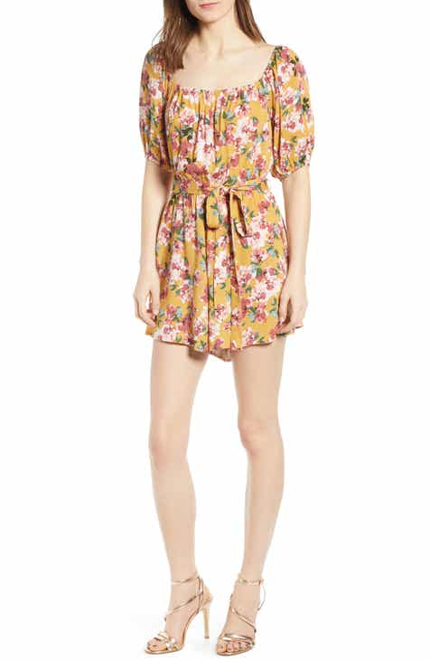 Row A Floral Square Neck Romper by ROW A