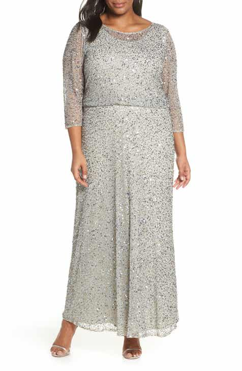 2f03a7e16501 Pisarro Nights Embellished Blouson Evening Dress (Plus Size)