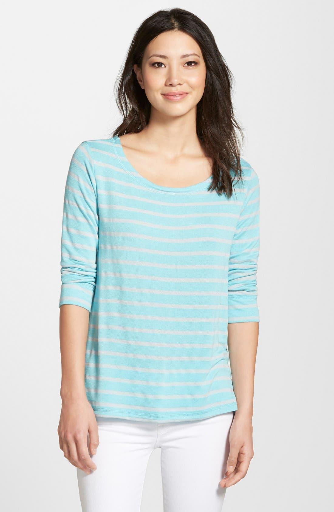 Alternate Image 1 Selected - Caslon® Stripe Side Zip Top (Regular & Petite)