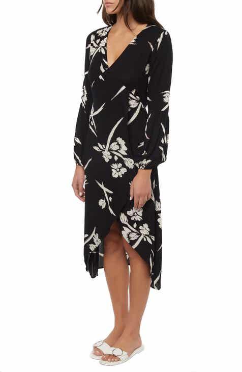 O'Neill Talina Floral Print Long Sleeve Midi Dress