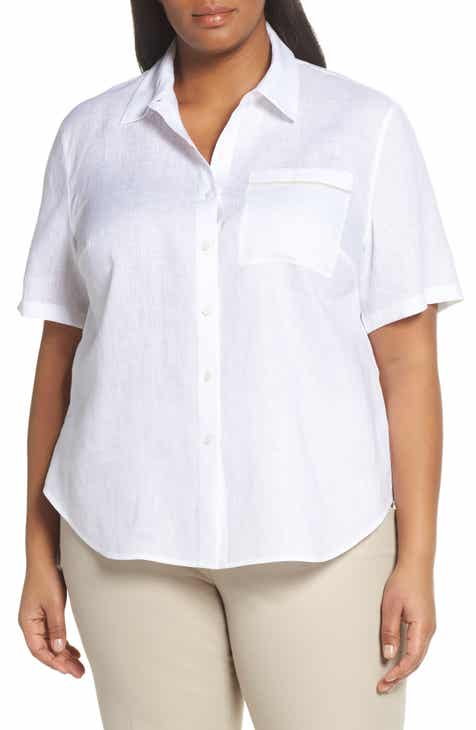 5f2b8b334a3089 Lafayette 148 New York Justice Linen Shirt (Plus Size)