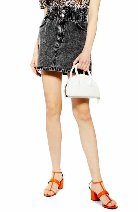Topshop Acid Wash Paperbag Waist Denim Skirt by TOPSHOP