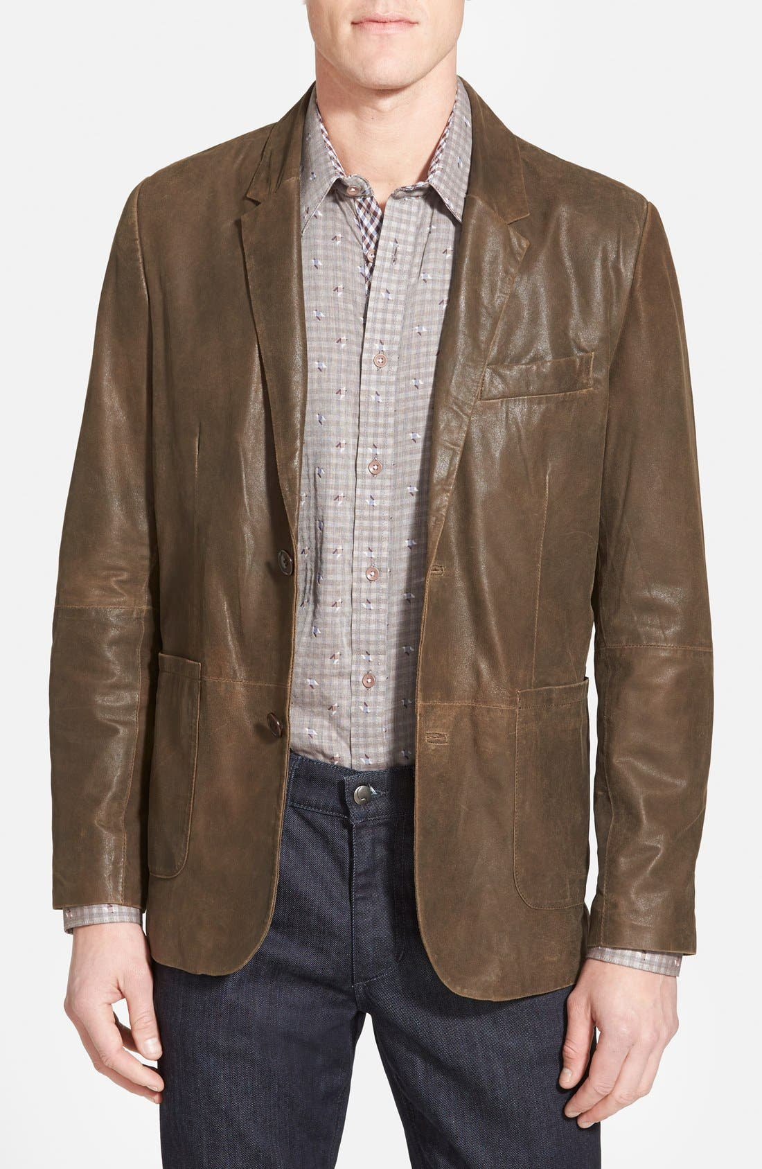 Trim Fit Lambskin Leather Sport Coat,                         Main,                         color, Brown