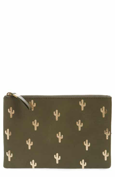 a143d3869ca0 Madewell The Leather Pouch Clutch  Embossed Cactus Edition