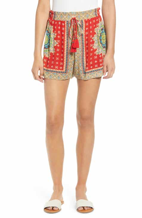 Band of Gypsies Venice Print Tassel Shorts by BAND OF GYPSIES