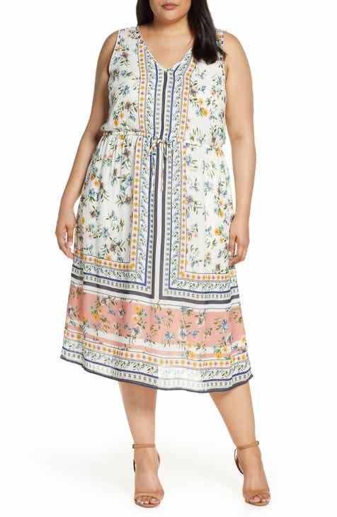 Lucky Brand Olivia Drawstring Waist Dress (Plus Size) by LUCKY BRAND